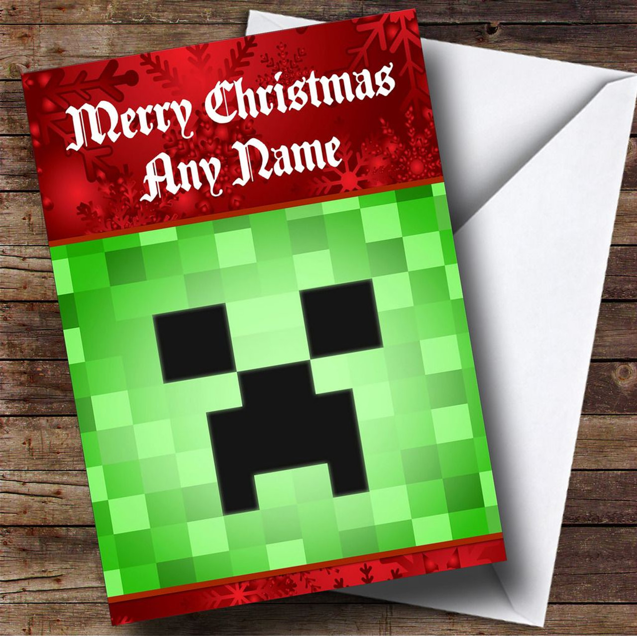 Minecraft Creeper Personalised Christmas Card