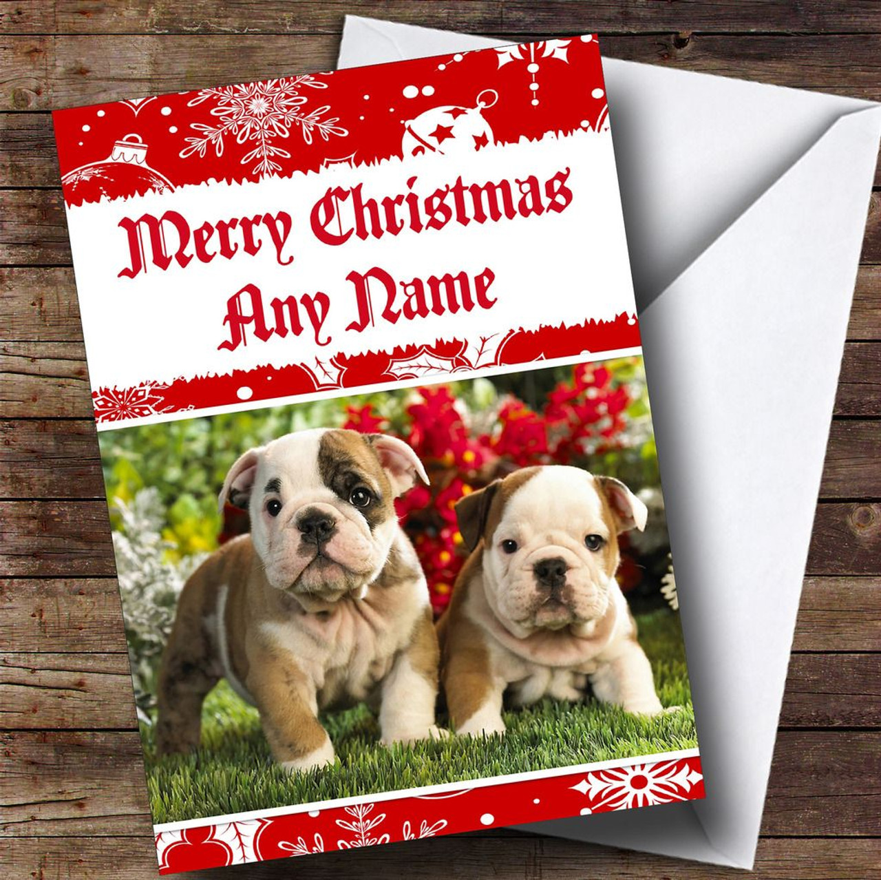 Bulldog Puppy Dogs Personalised Christmas Card - The Card Zoo