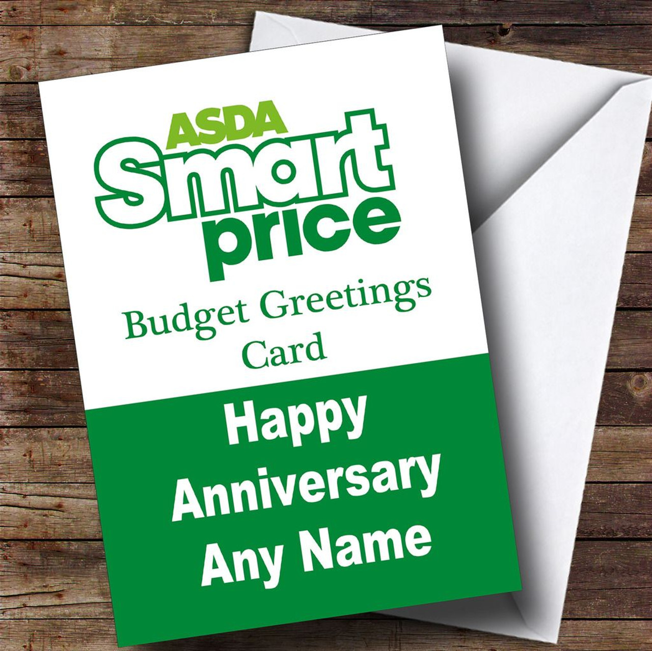 Funny Joke Asda Smart Price Spoof Personalised Anniversary Card ...