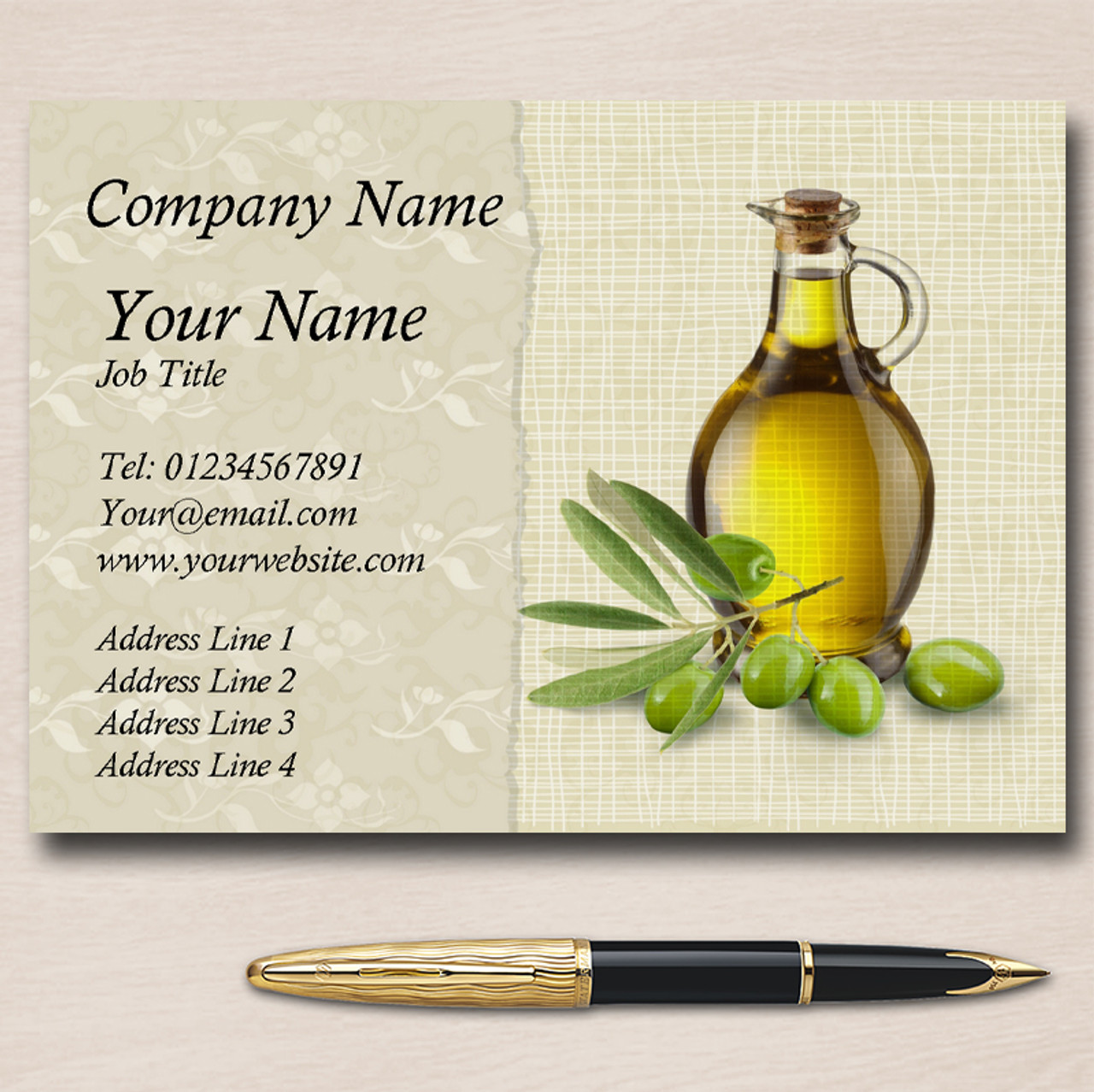 Vintage Olive Oil Personalised Business Cards - The Card Zoo