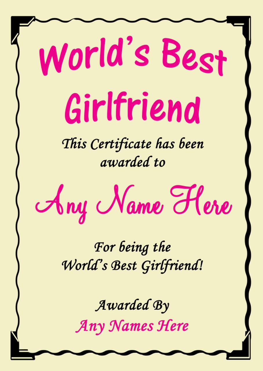 Girlfriend Best In The World Award Personalised Certificate Best