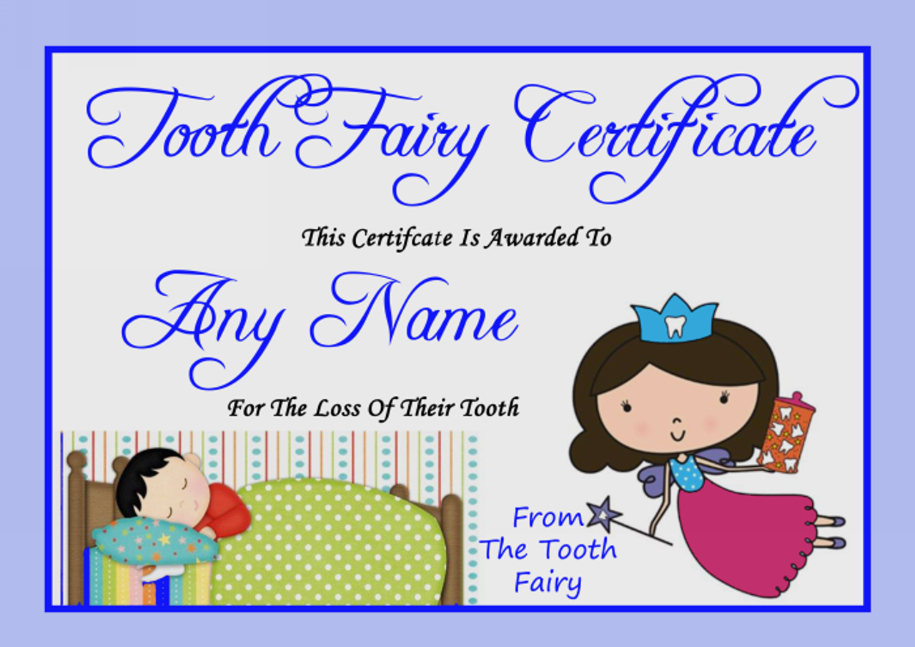 tooth fairy card  Blue Personalised Tooth Fairy Certificate - The Card Zoo