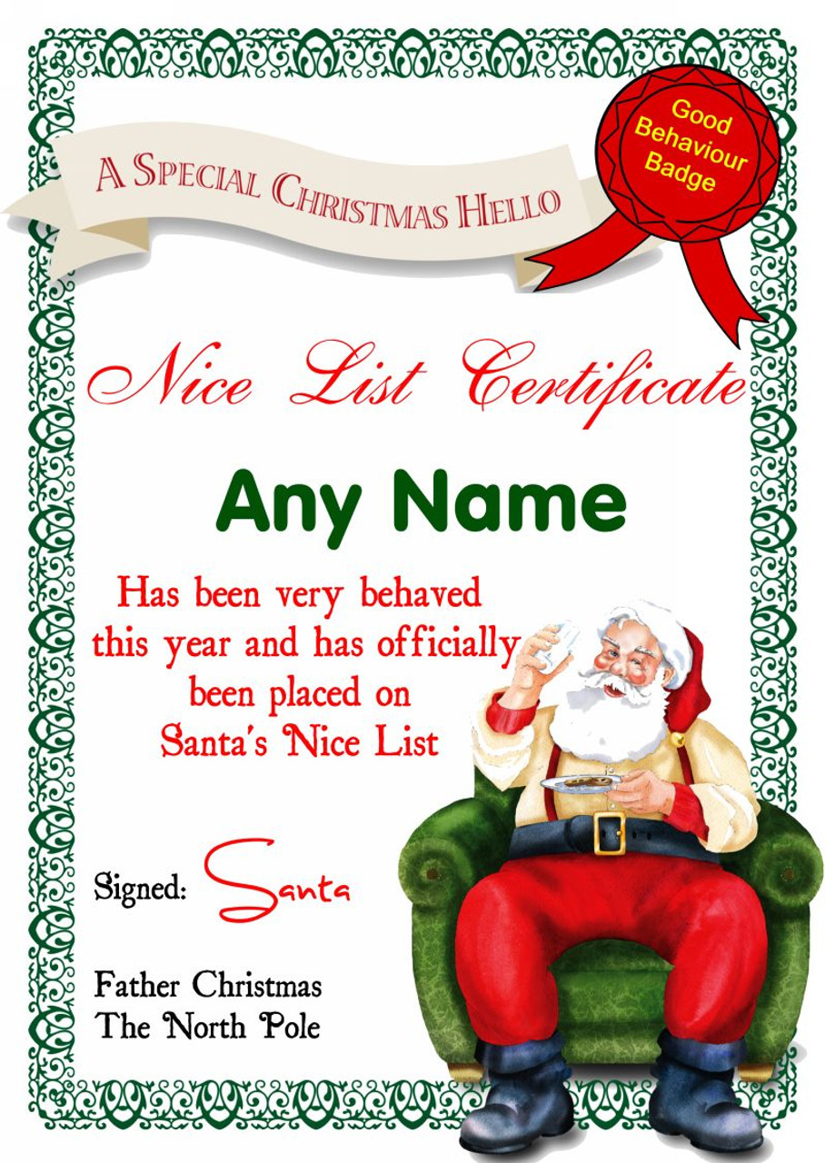 White santas letter personalised christmas santas nice list white santas letter personalised christmas santas nice list certificate spiritdancerdesigns Gallery