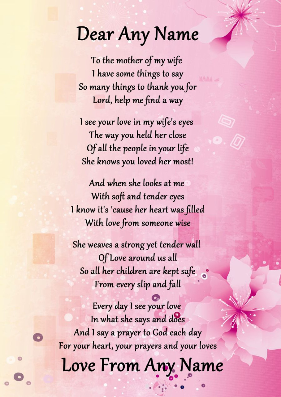 Pink Amp Yellow My Wife S Mother Personalised Poem