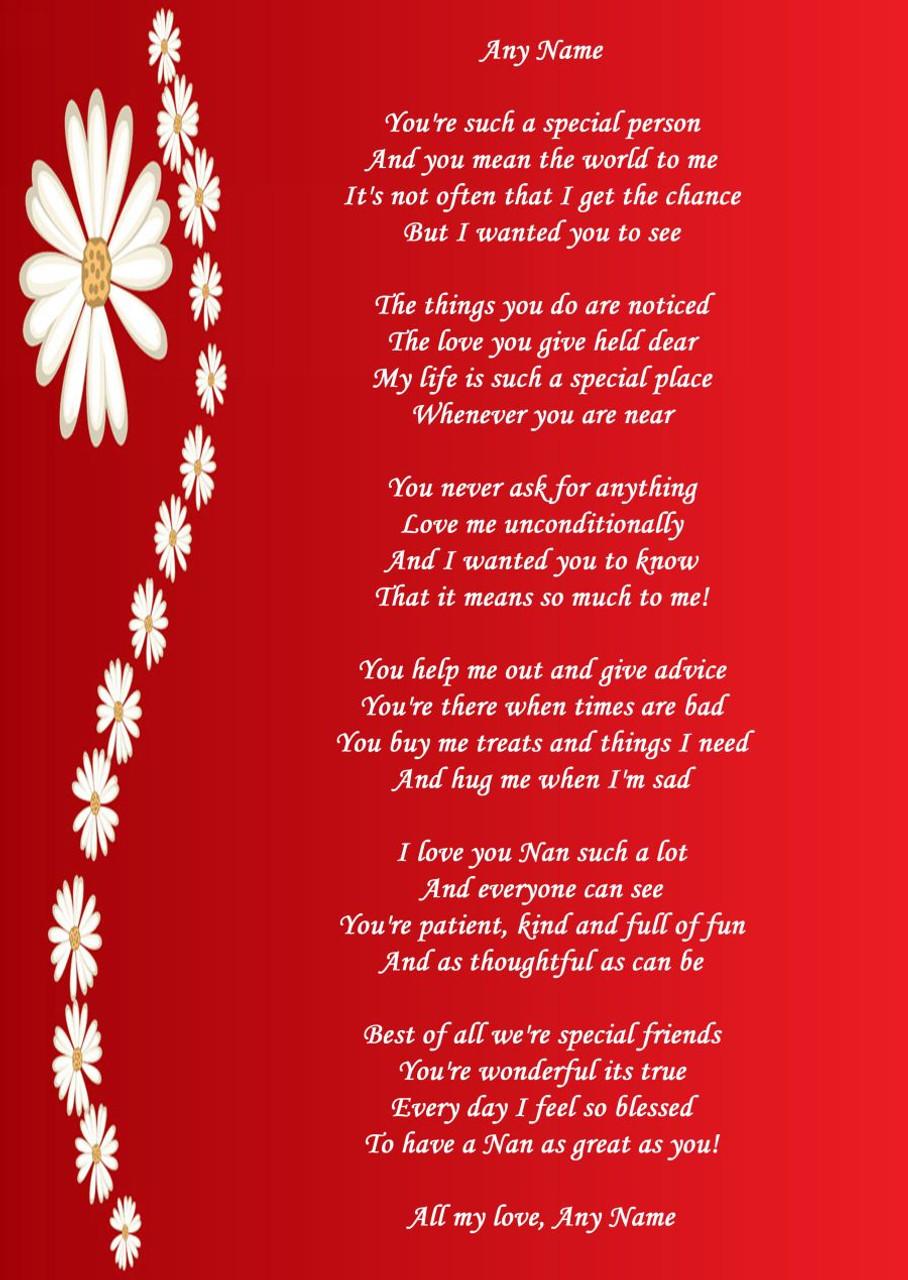 Red Nan Personalised Poem Certificate - The Card Zoo