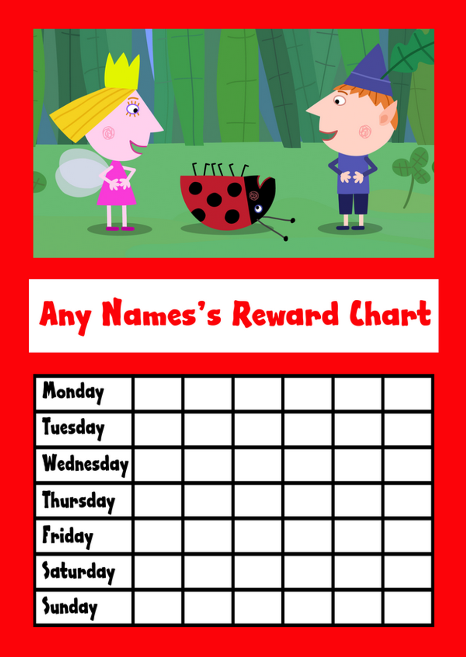 Ben & Holly Red Star Sticker Reward Chart - The Card Zoo