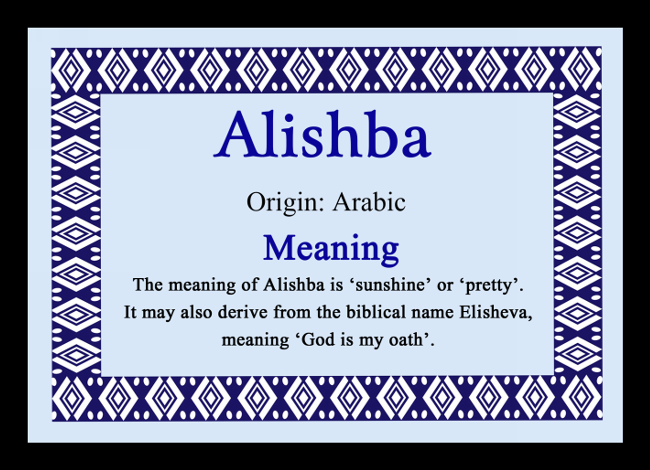 Alishba Personalised Name Meaning Mousemat The Card Zoo
