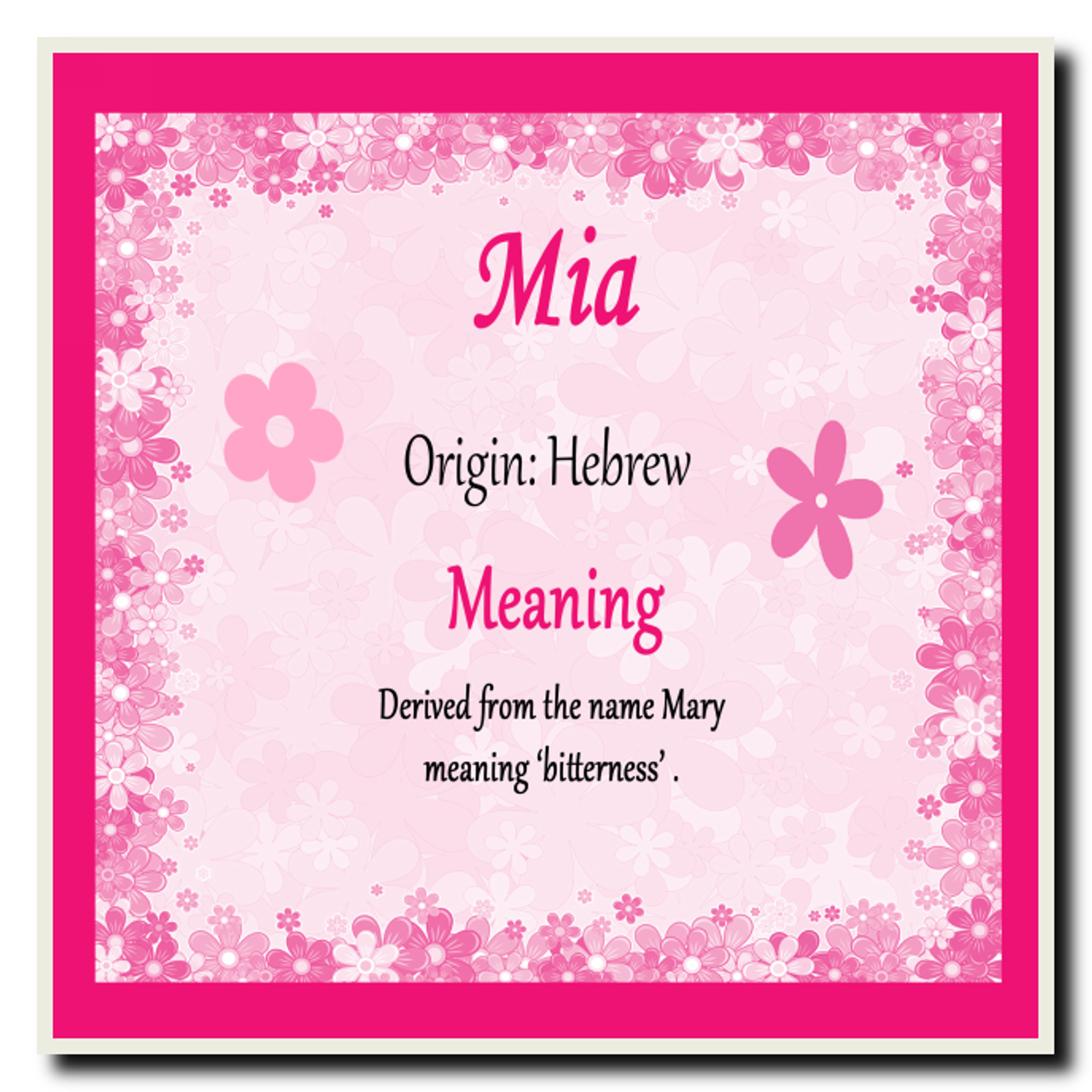 Mia Personalised Name Meaning Coaster - The Card Zoo