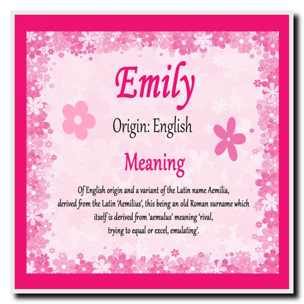 Emily Personalised Name Meaning Coaster
