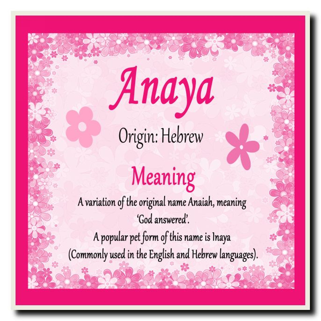 Anaya personalised name meaning jumbo magnet the card zoo anaya personalised name meaning coaster stopboris Image collections