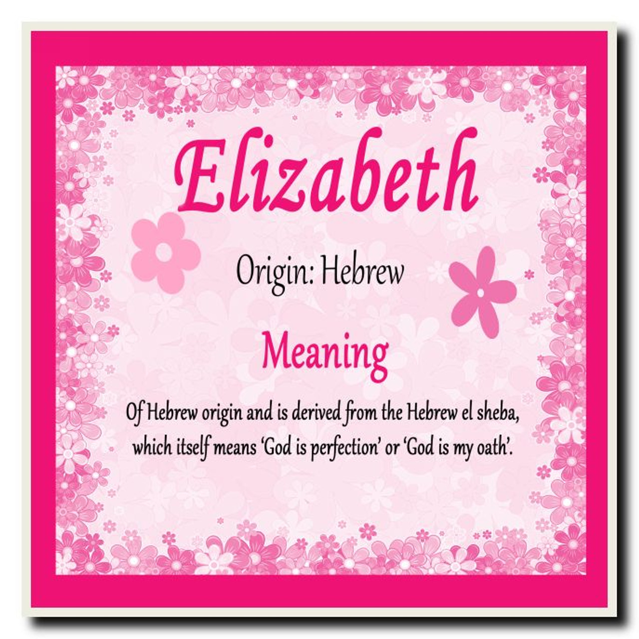 Elizabeth Personalised Name Meaning Coaster The Card Zoo