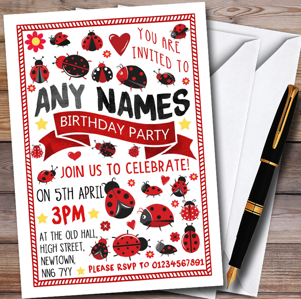 Ladybirds & Ladybugs Personalised Childrens Party Invitations - The ...