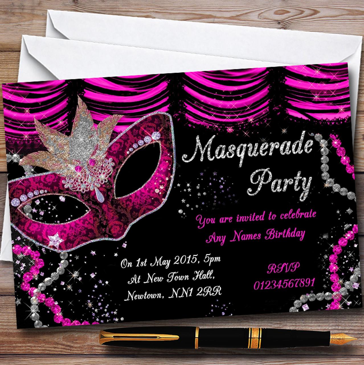 Pink & Black Mask Masquerade Ball Personalised Party Invitations ...