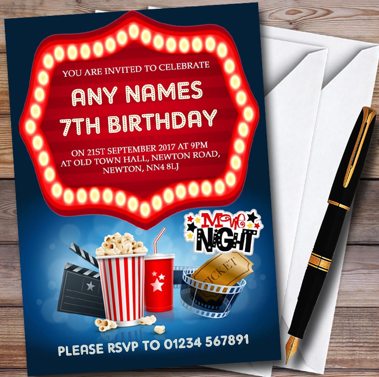 Blue Film Movie Cinema Night Personalised Childrens Birthday Party ...
