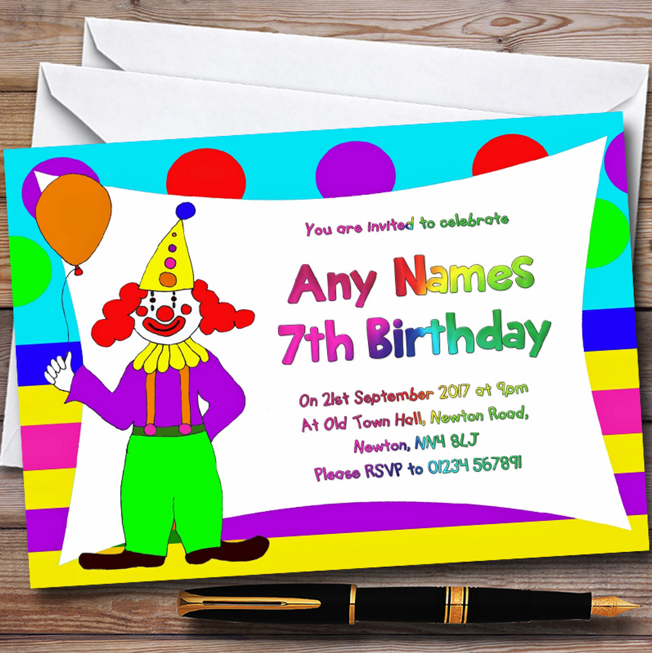 Bright Colourful Clown Personalised Childrens Birthday Party ...