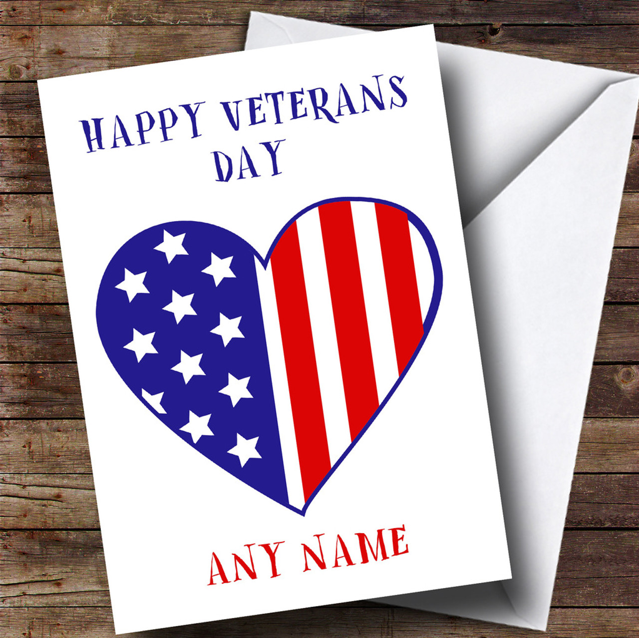 Personalised cards veterans day cards the card zoo usa flag heart personalised veterans day card m4hsunfo