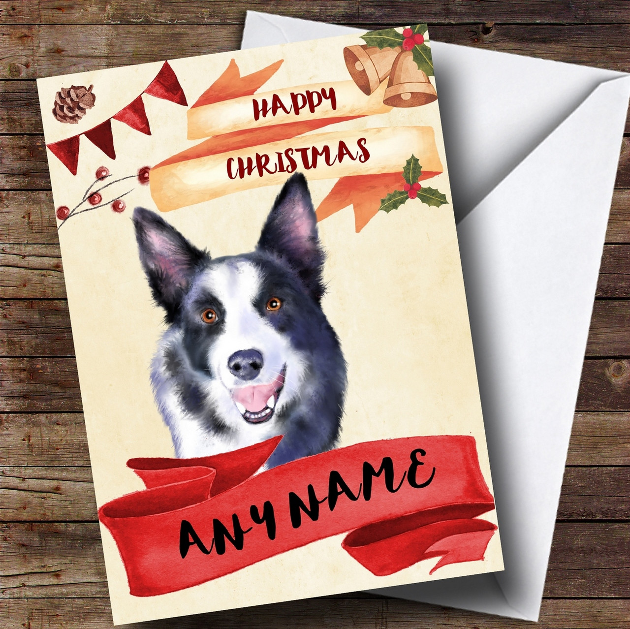 Watercolour Rustic Dog Border Collie Personalised Christmas Card ...