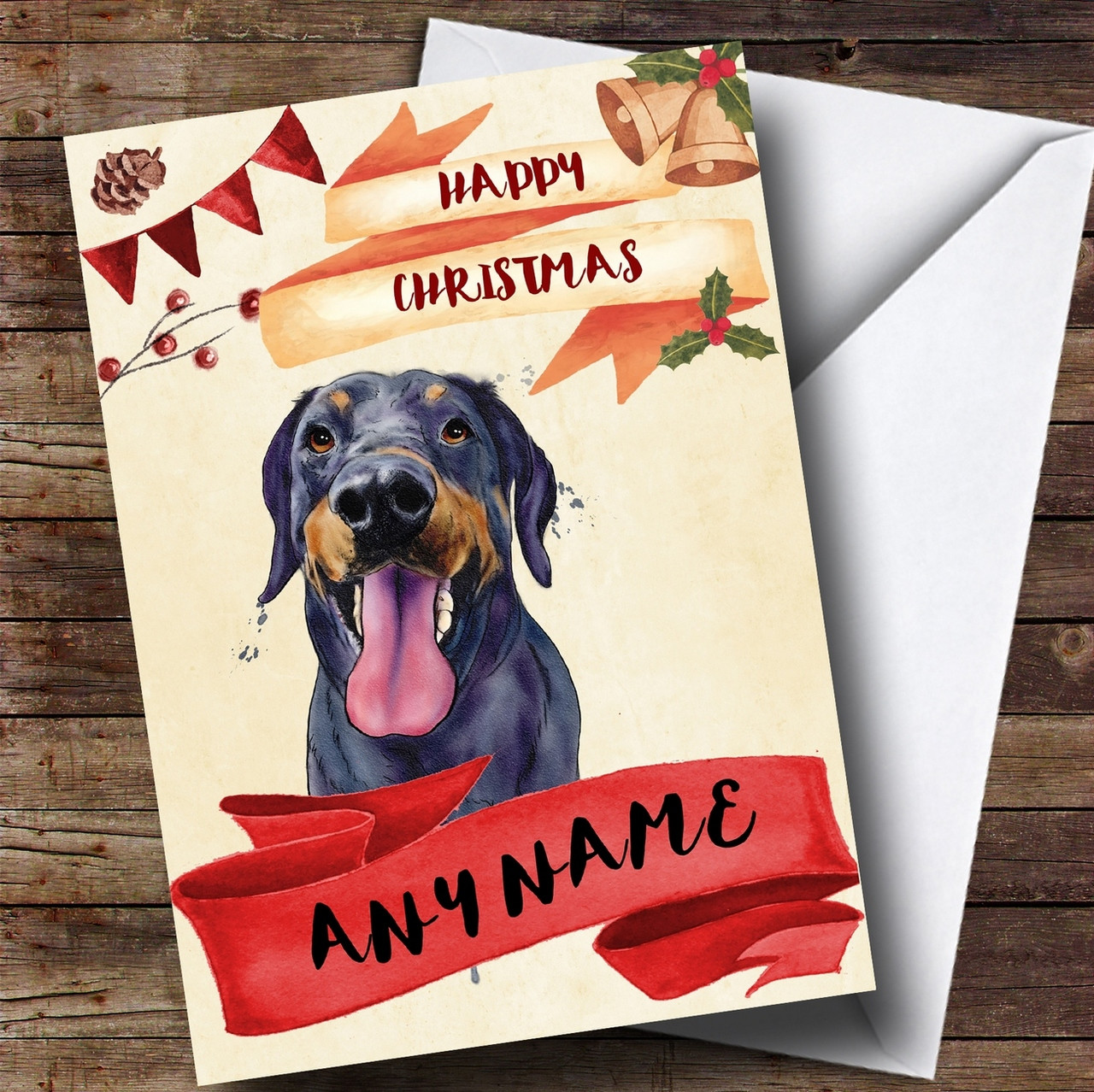 Watercolour Rustic Dog Doberman Personalised Christmas Card - The ...
