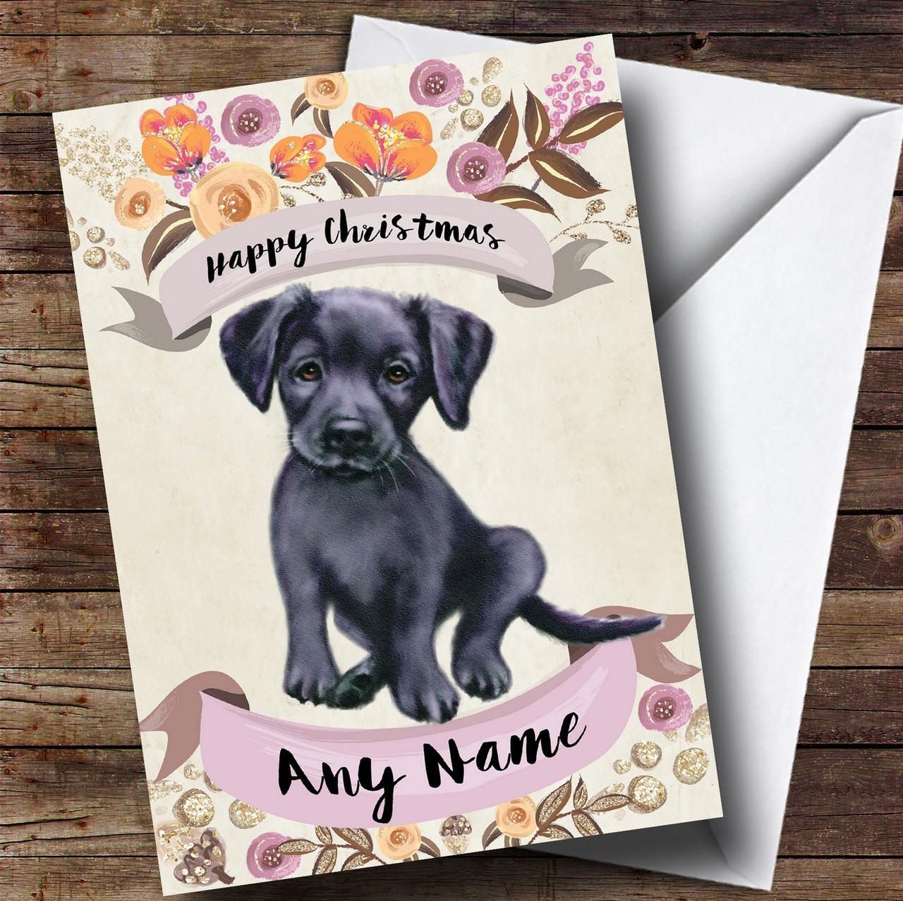 Rustic Gold Dog Black Labrador Personalised Cute Christmas Card ...
