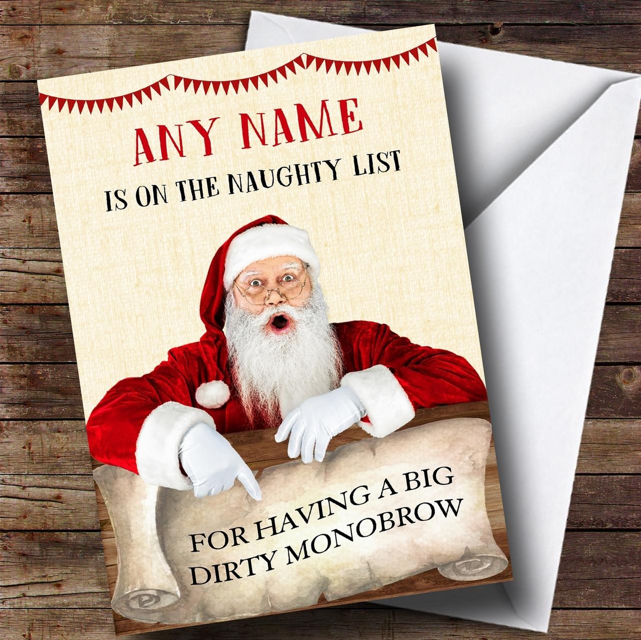 Funny rude offensive naughty list monobrow personalised christmas funny rude offensive naughty list monobrow personalised christmas card m4hsunfo