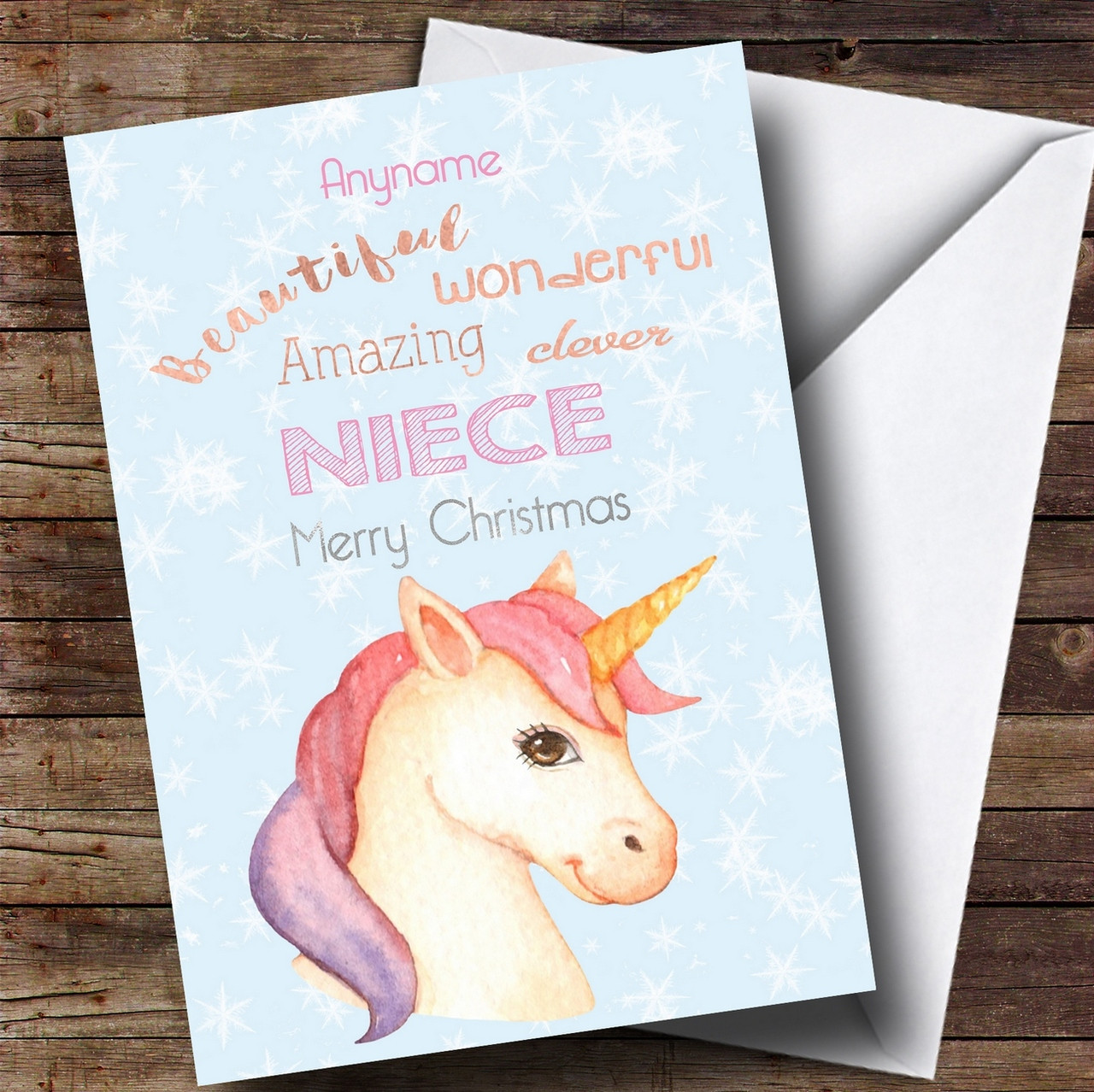 Niece pretty unicorn personalised christmas card the card zoo text for the front of the card kristyandbryce Image collections