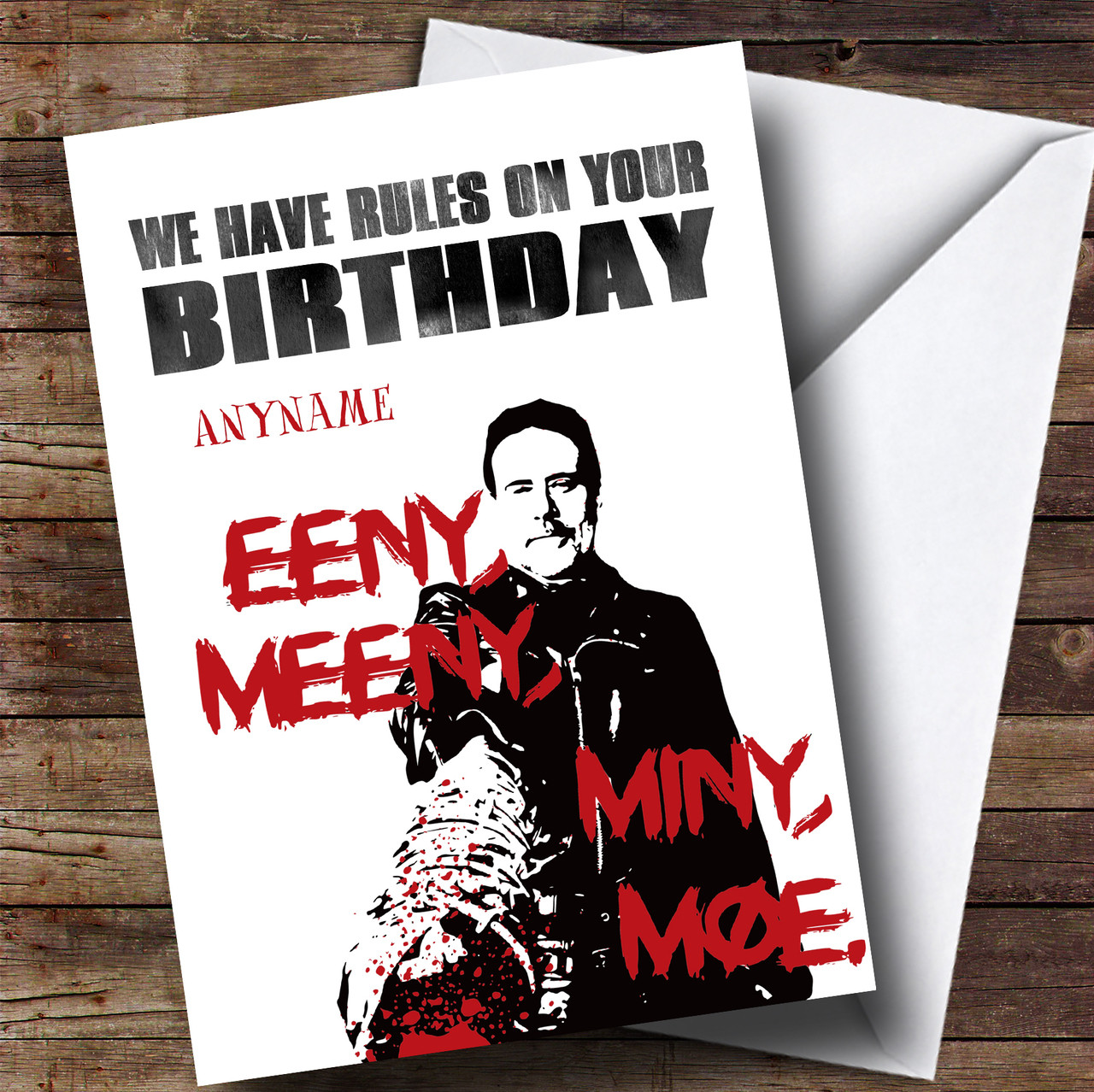 The Walking Dead Negan Rules Birthday Personalised Card - The Card Zoo