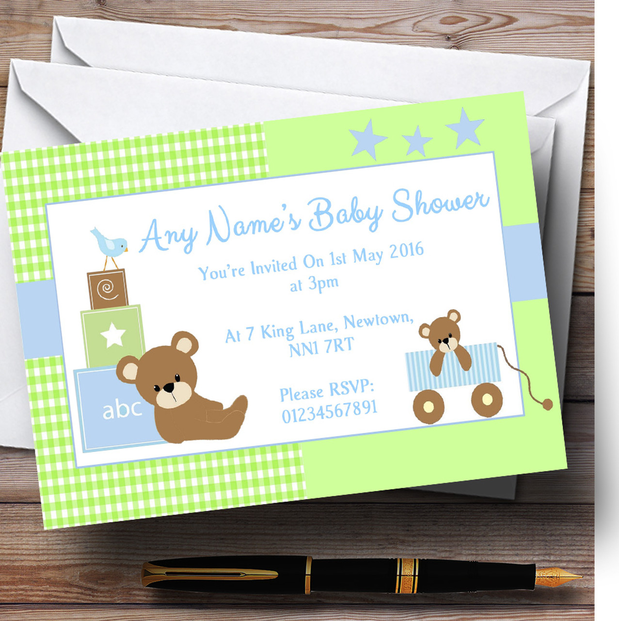 Blue Green Teddy Bears Personalised Baby Shower Invitations - The ...