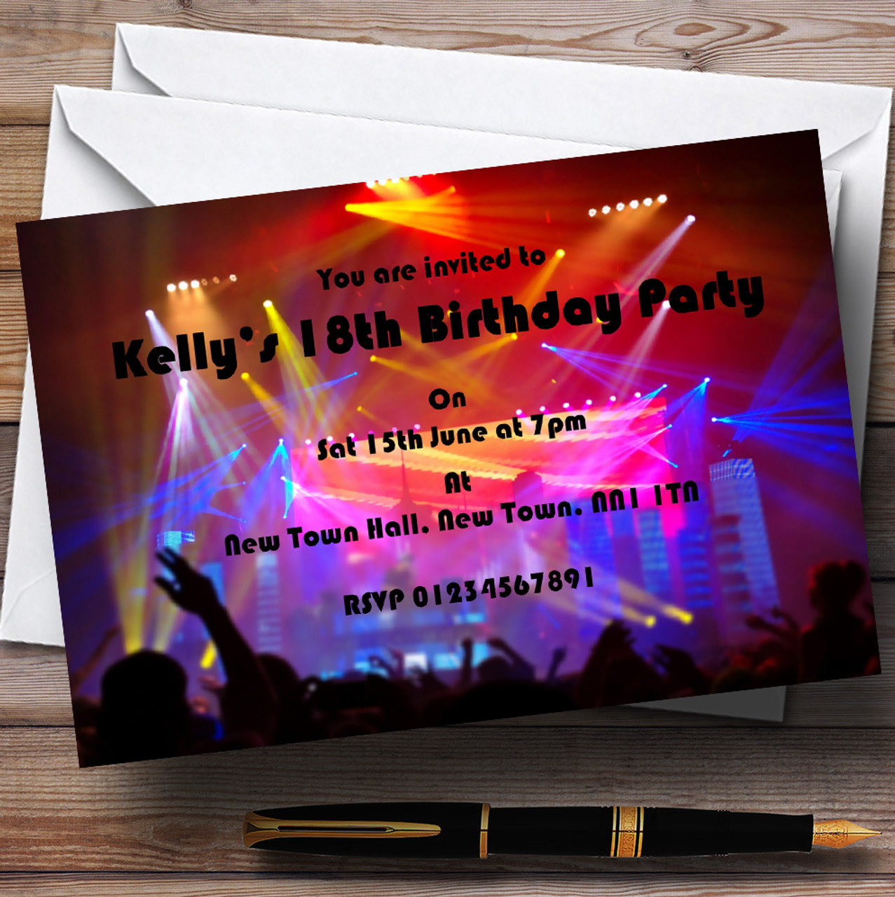 Disco Laser Lights Personalised Party Invitations - The Card Zoo