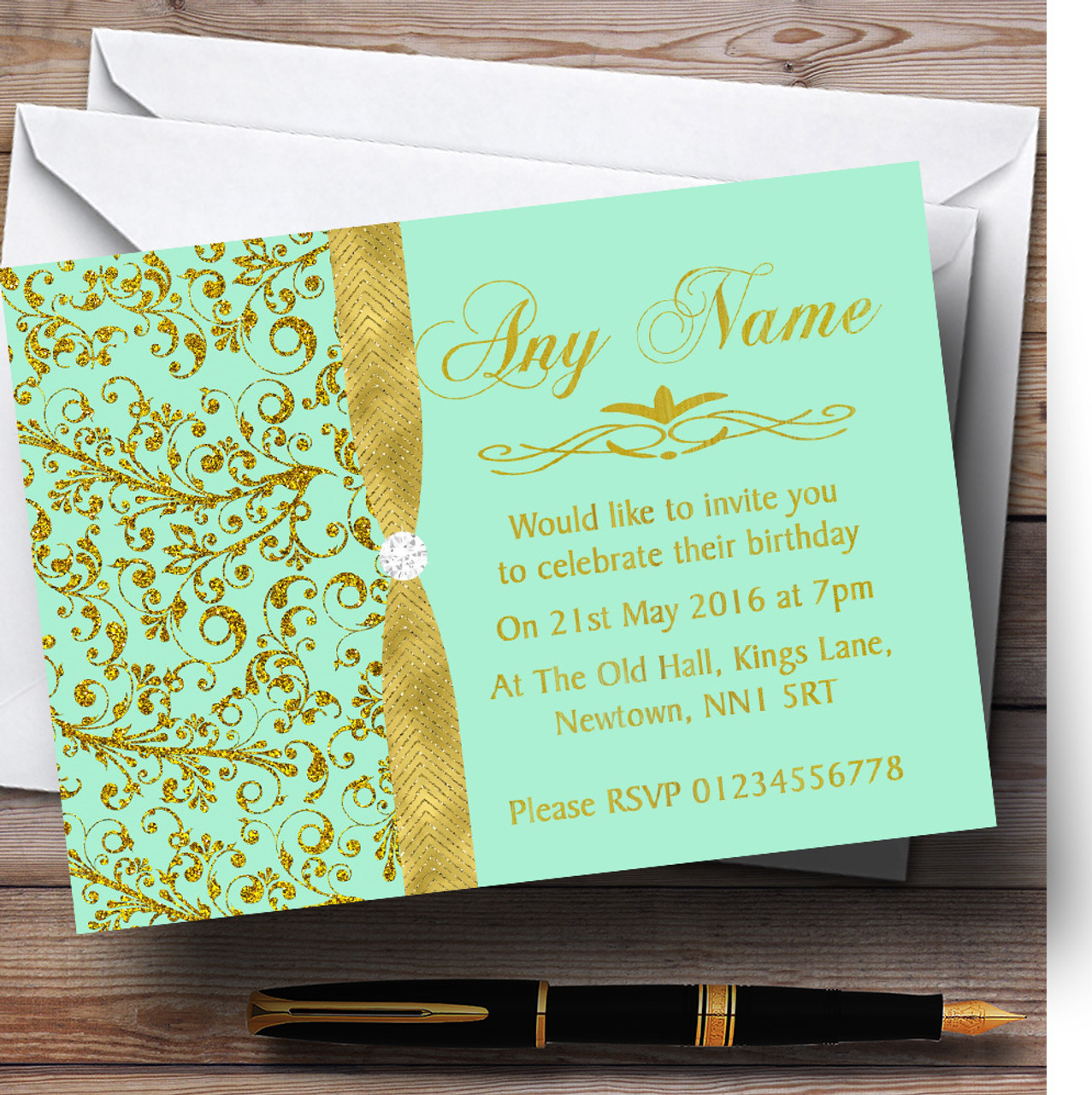 Gold And Cool Mint Green Vintage Personalised Birthday Party ...