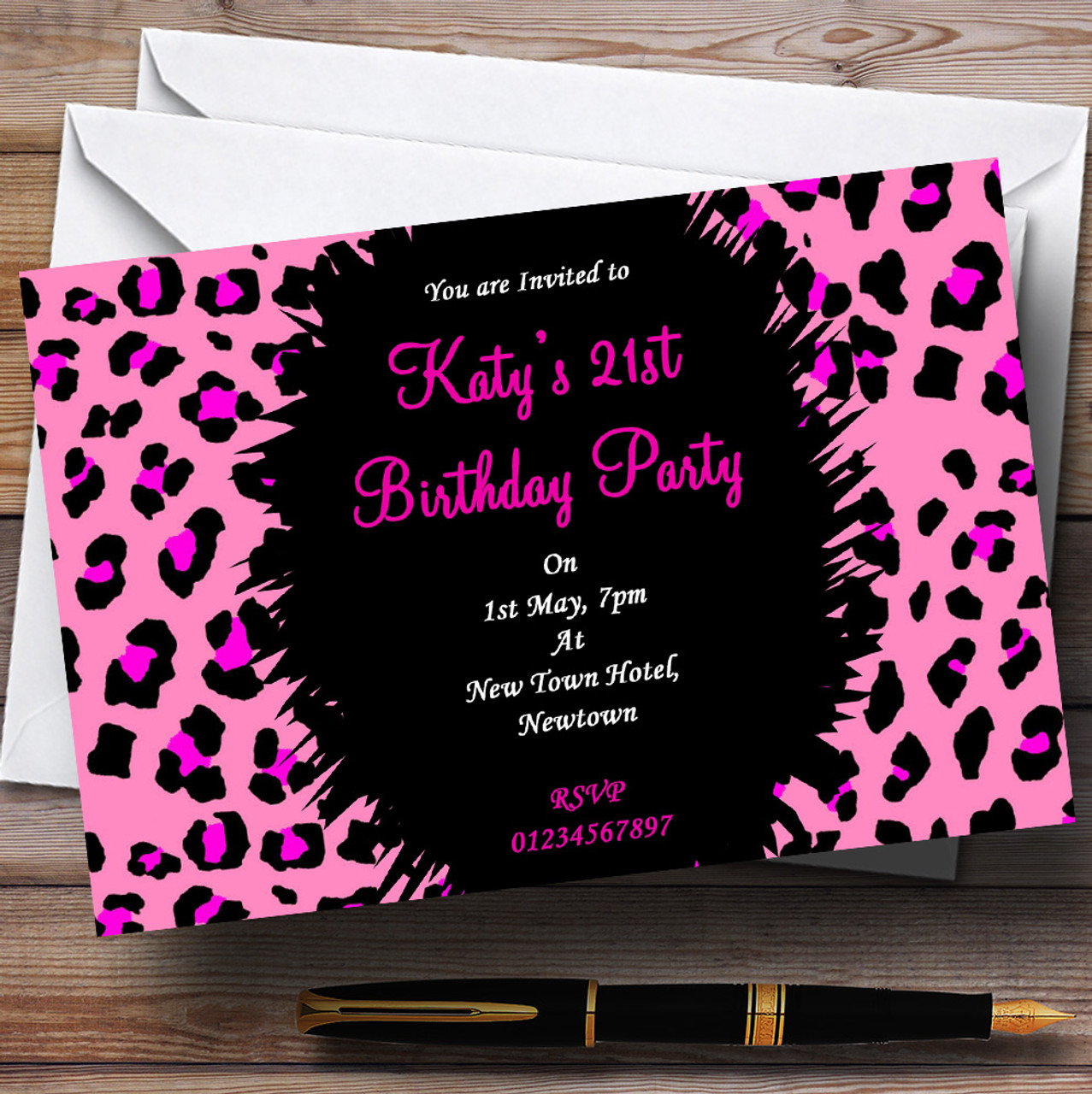 Funky Pink Leopard Print Personalised Party Invitations - The Card Zoo