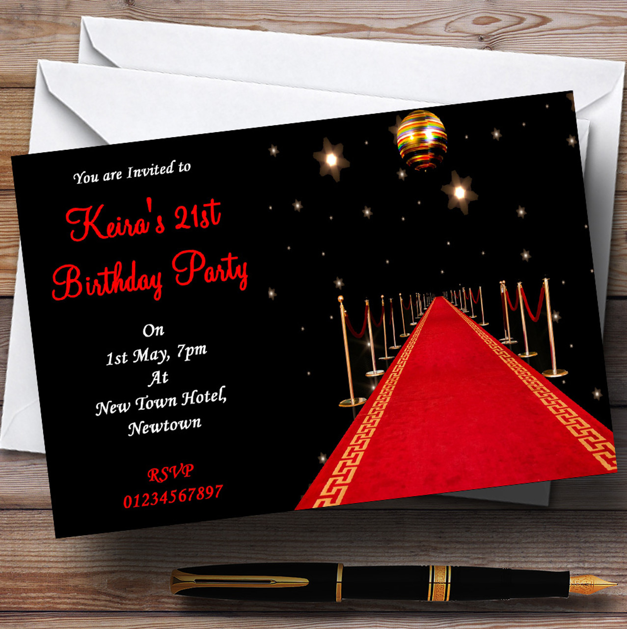 Red Carpet Vip Personalised Party Invitations - The Card Zoo