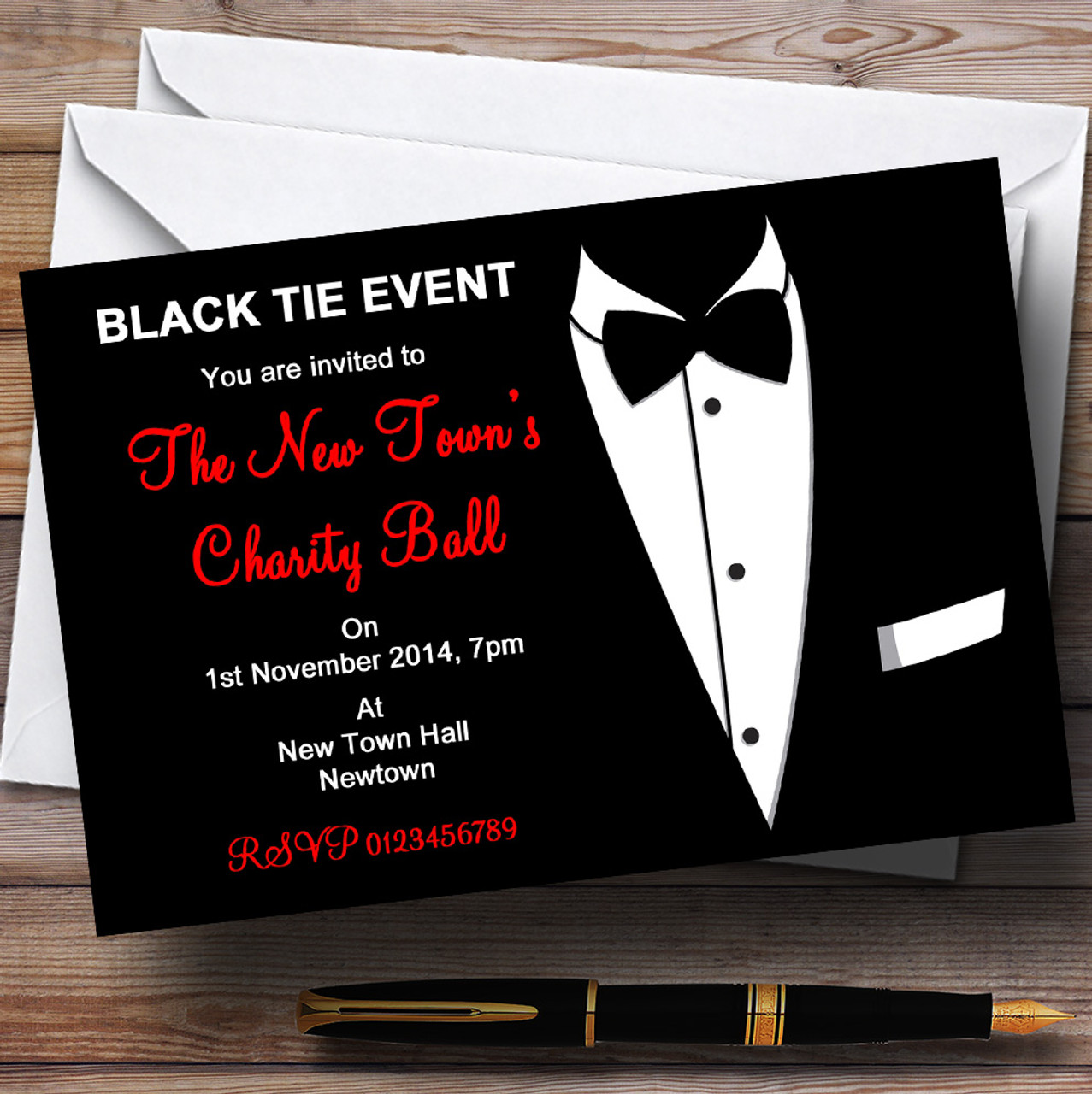 Red & White Black Tie Tuxedo Personalised Party Invitations - The ...