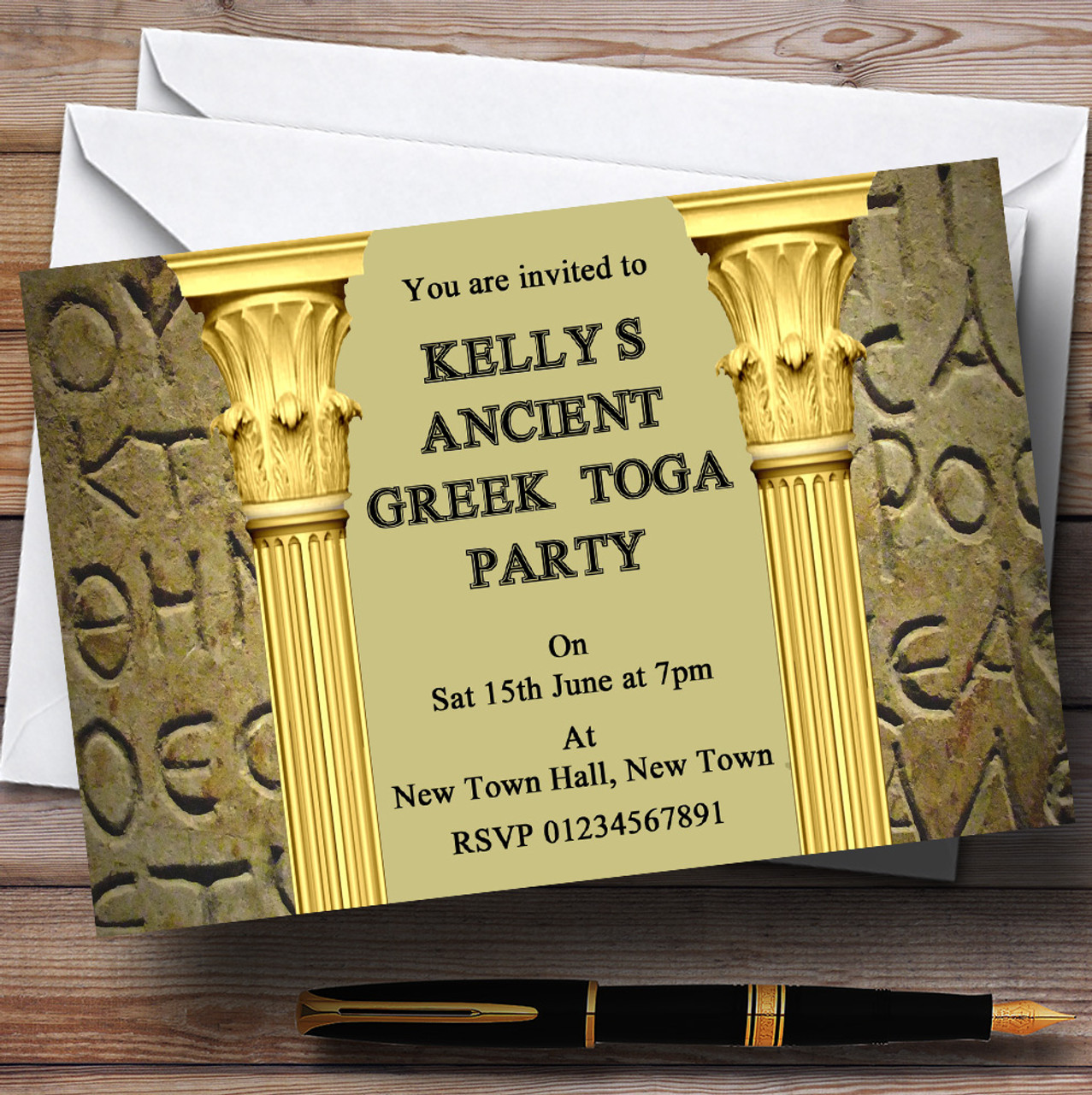 Ancient greek greece toga personalised party invitations the card zoo ancient greek greece toga personalised party invitations stopboris Choice Image