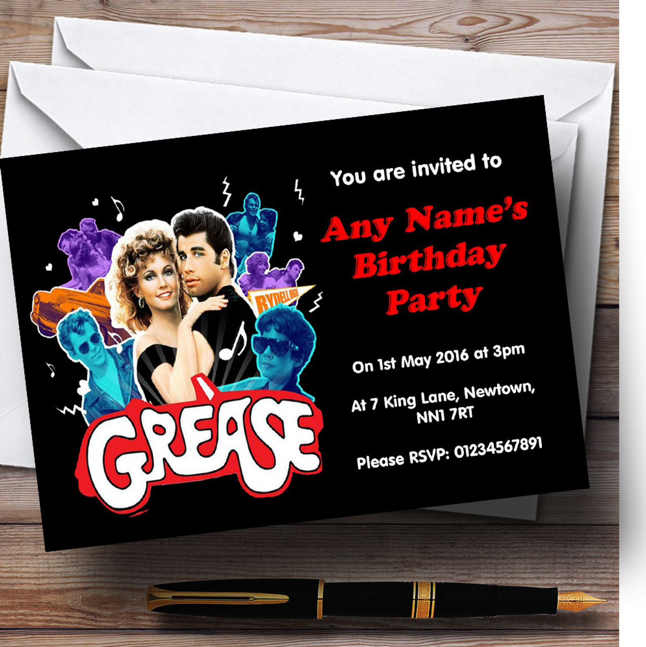 Grease personalised birthday party invitations the card zoo grease personalised birthday party invitations stopboris Image collections