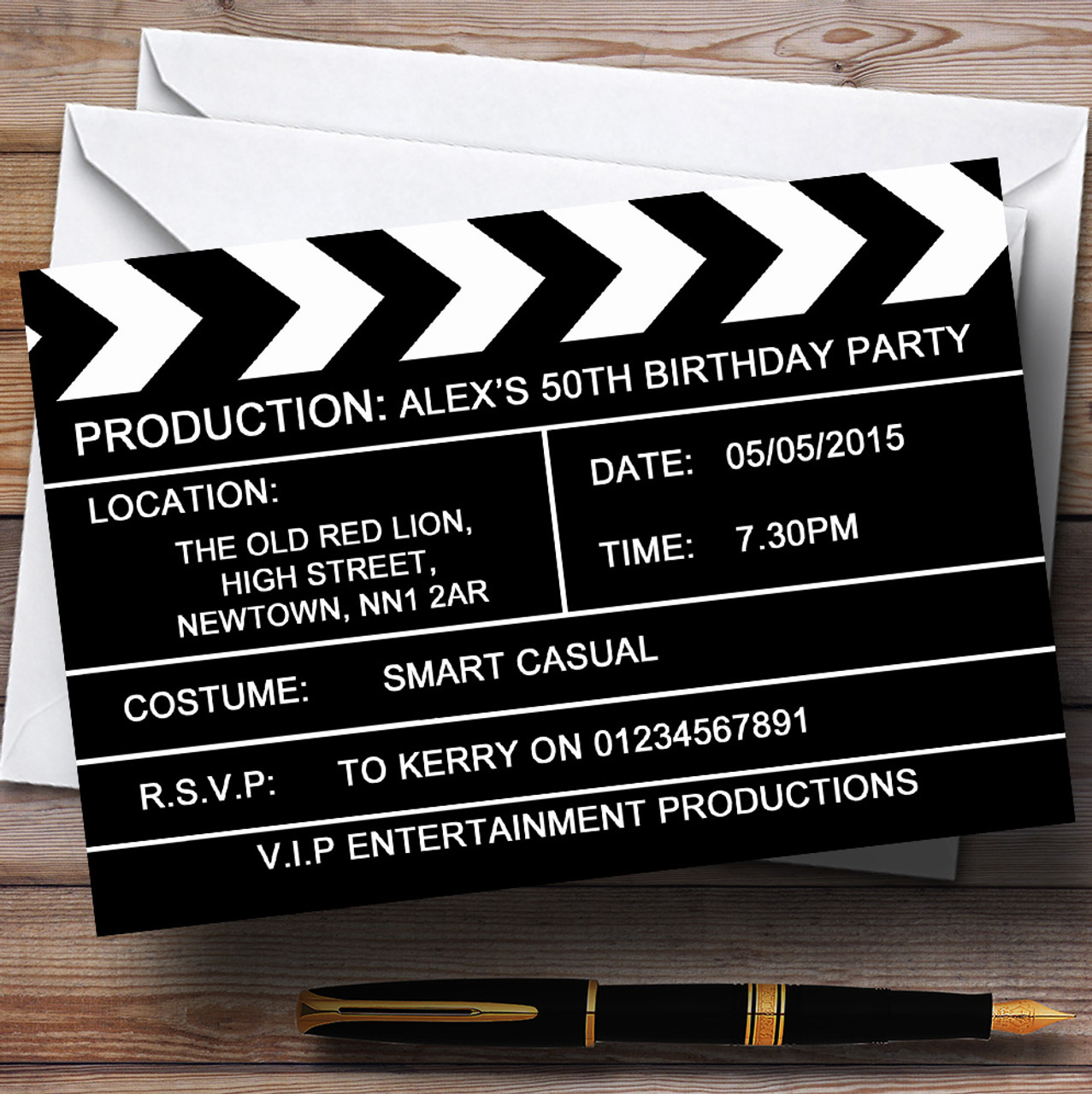 Hollywood Movie Clapboard Clapper Theme Personalised Birthday Party ...