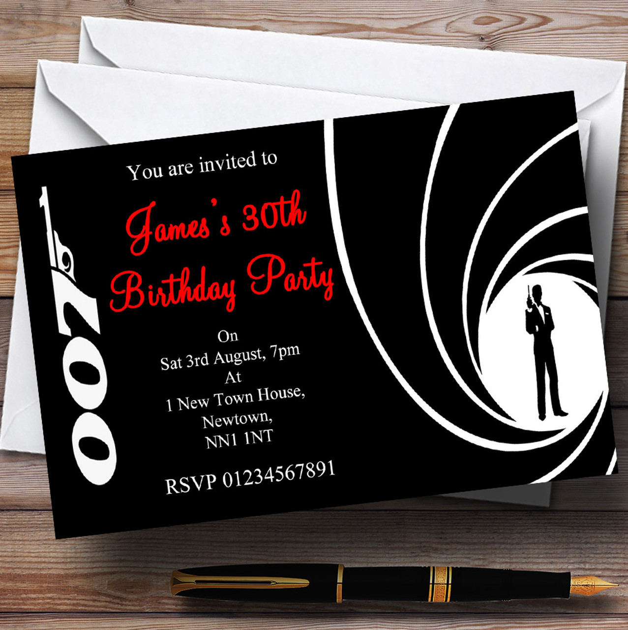 James Bond Personalised Party Invitations The Card Zoo