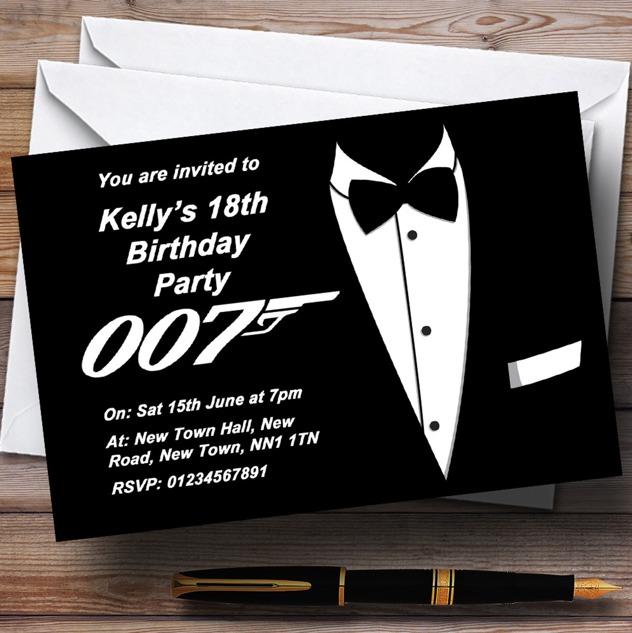 James Bond Themed Personalised Party Invitations The Card Zoo
