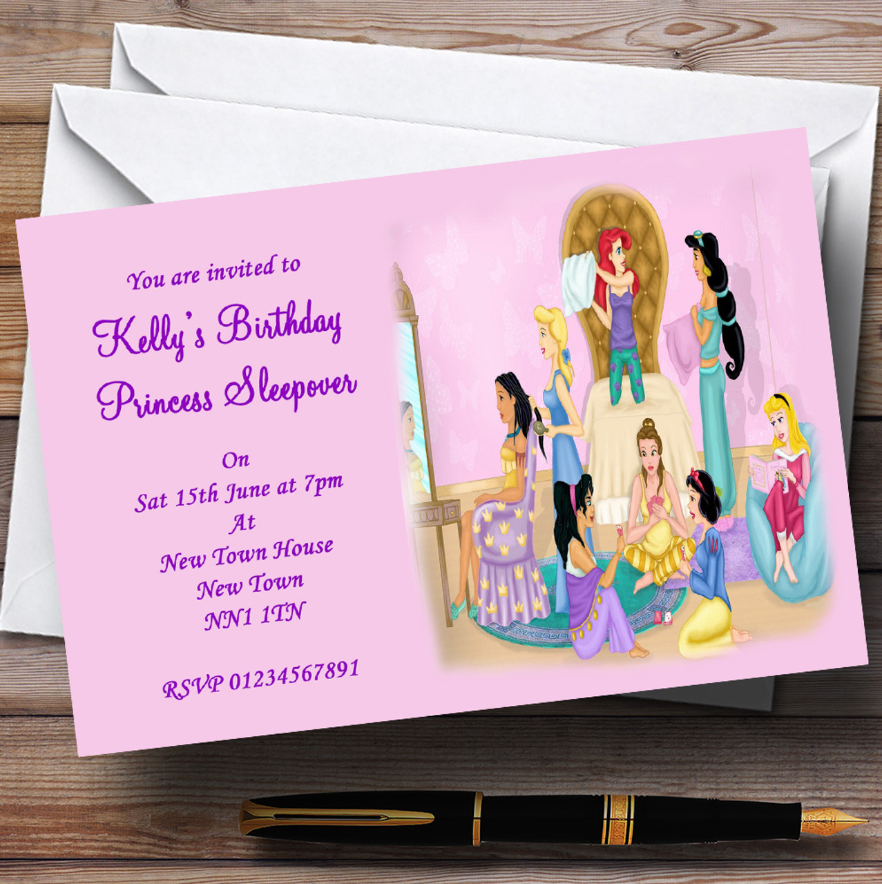 Princess Sleepover Slumber Makeover Personalised Party Invitations ...