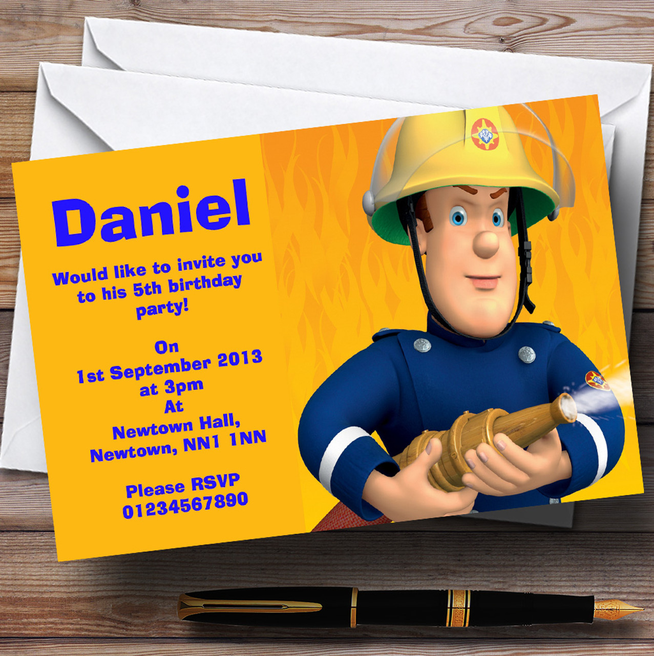 Fireman Sam Personalised Children\'s Birthday Party Invitations - The ...