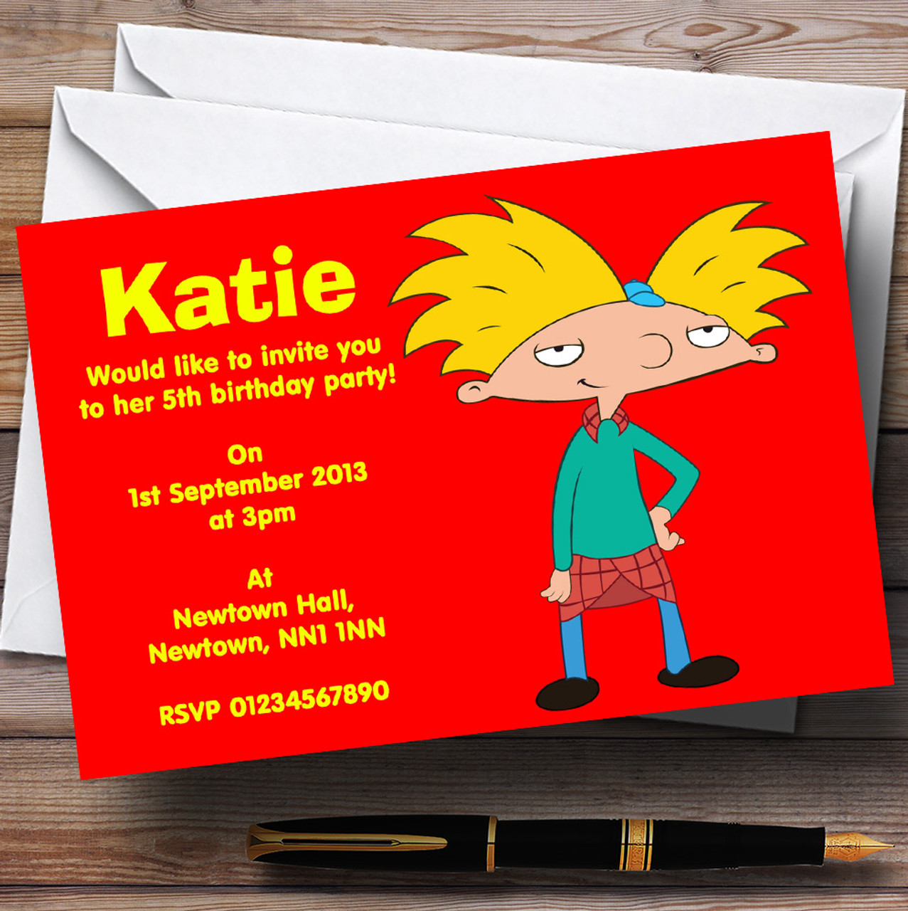 Hey Arnold Personalised Children\'s Birthday Party Invitations - The ...