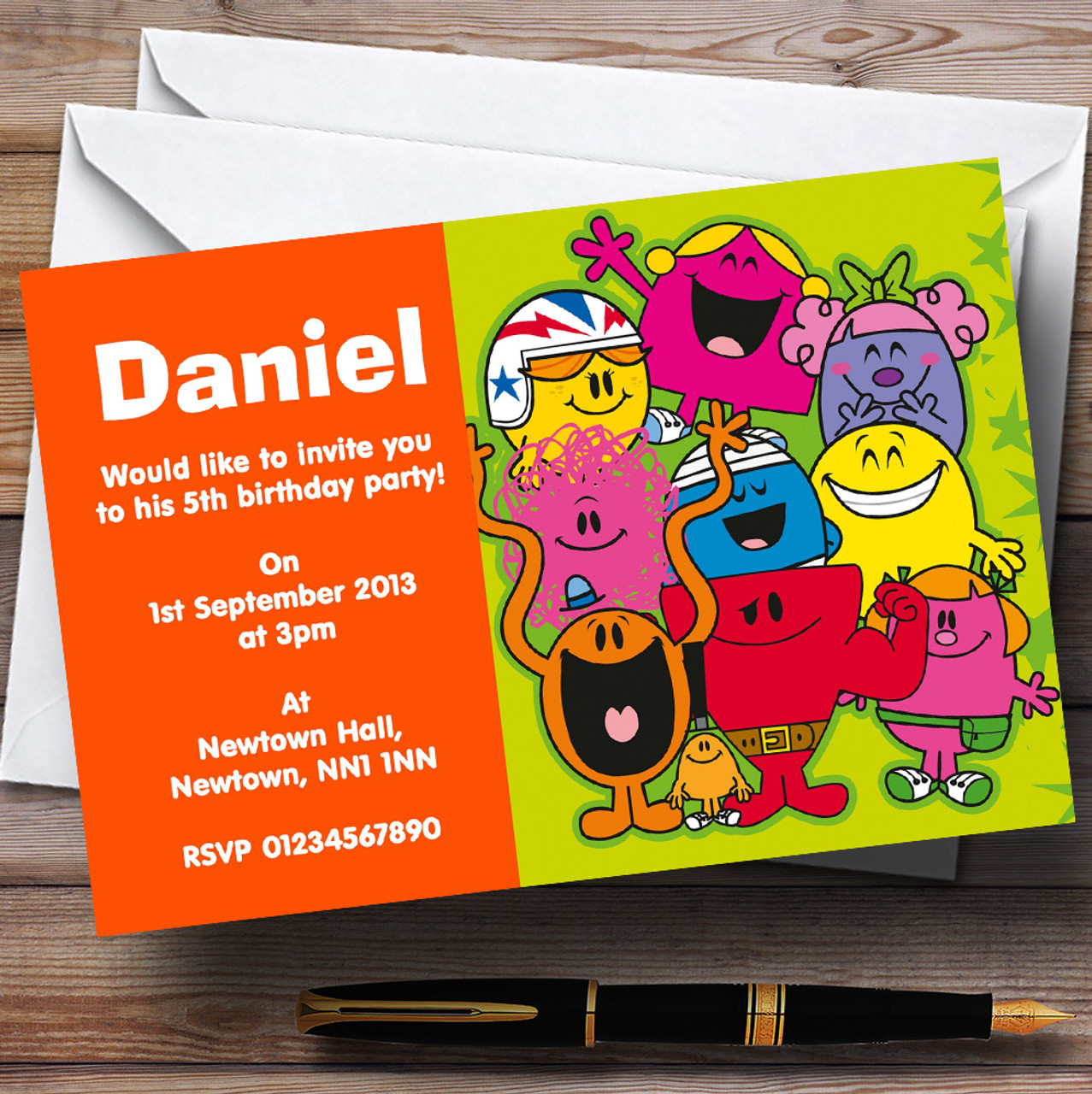 Mr Men Personalised Children\'s Birthday Party Invitations - The Card Zoo