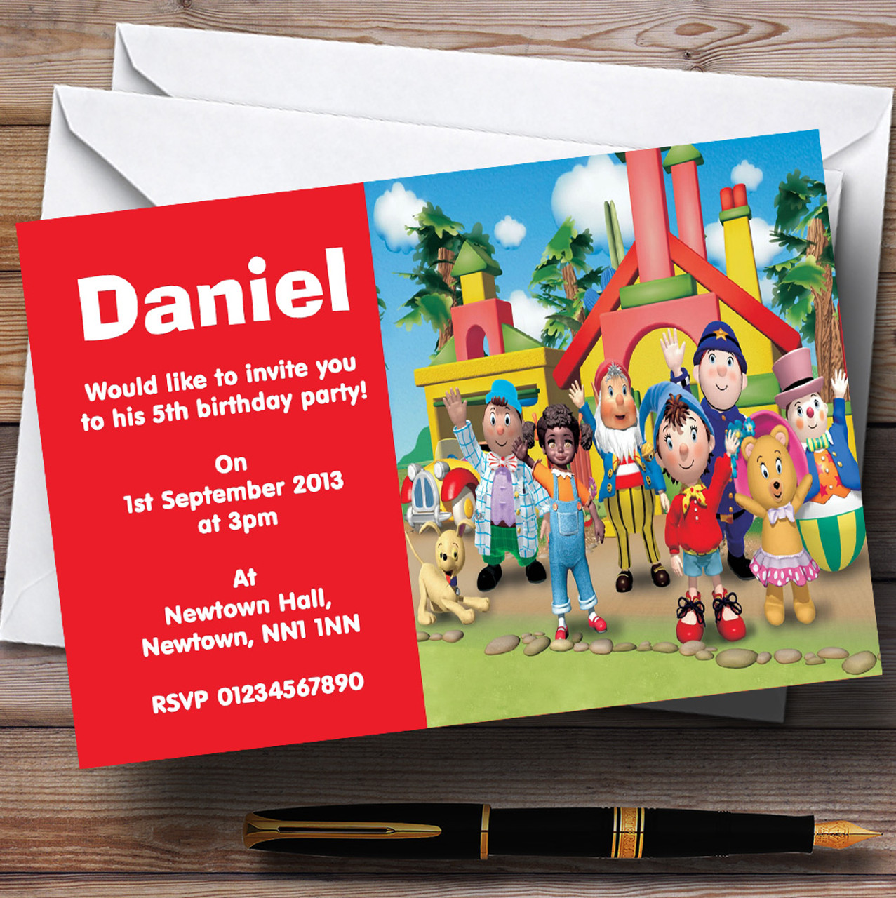 Noddy and friends personalised childrens birthday party noddy and friends personalised childrens birthday party invitations stopboris Gallery