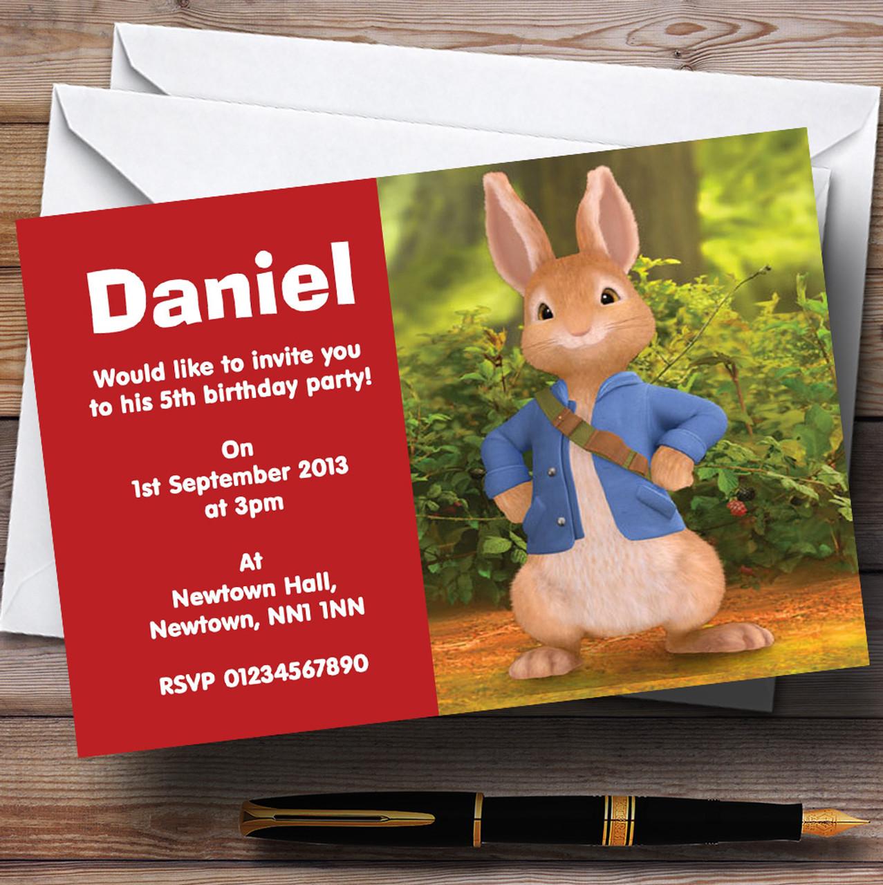 Peter Rabbit Personalised Childrens Birthday Party Invitations