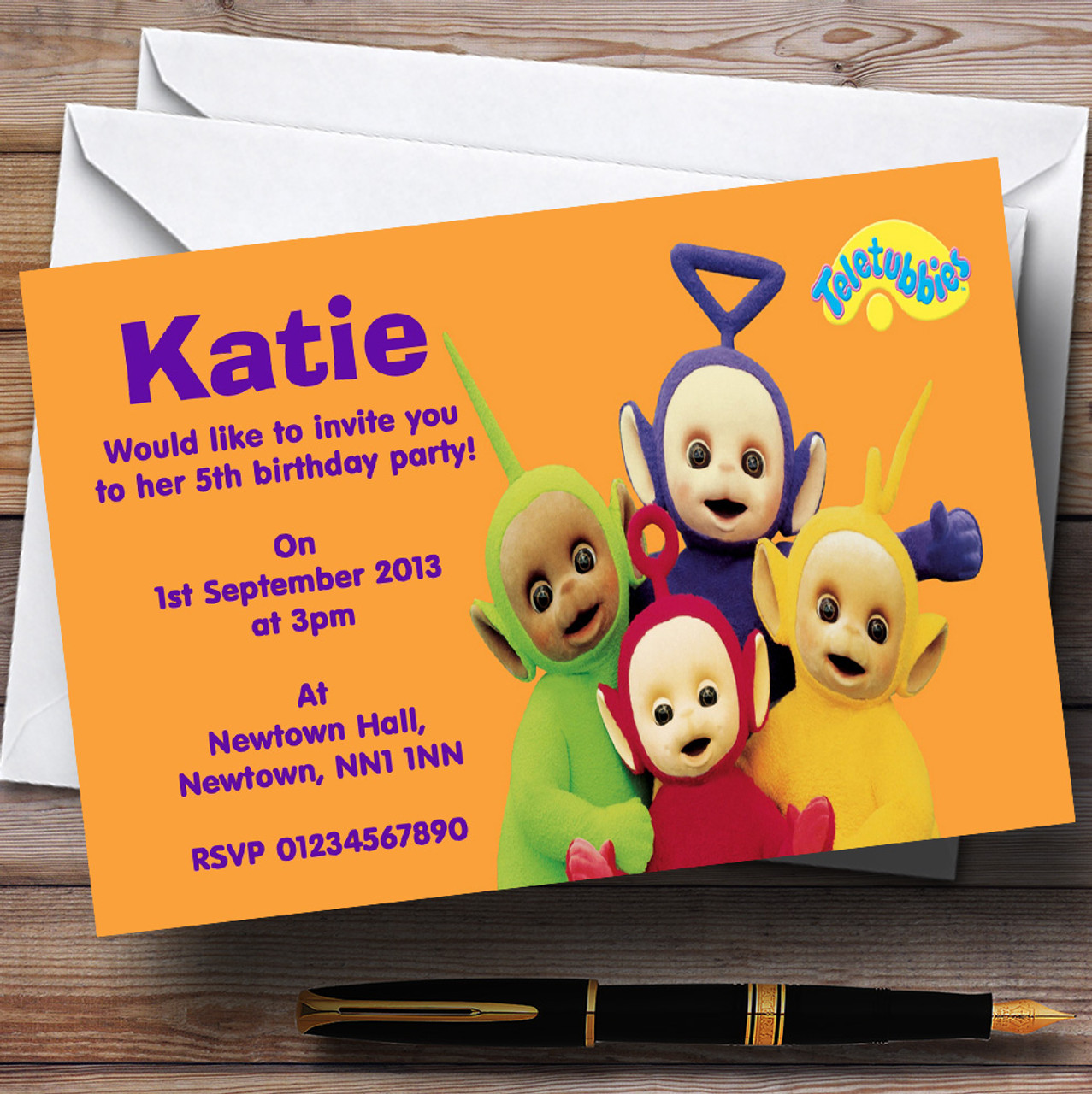 Teletubbies Personalised Children\'s Birthday Party Invitations ...