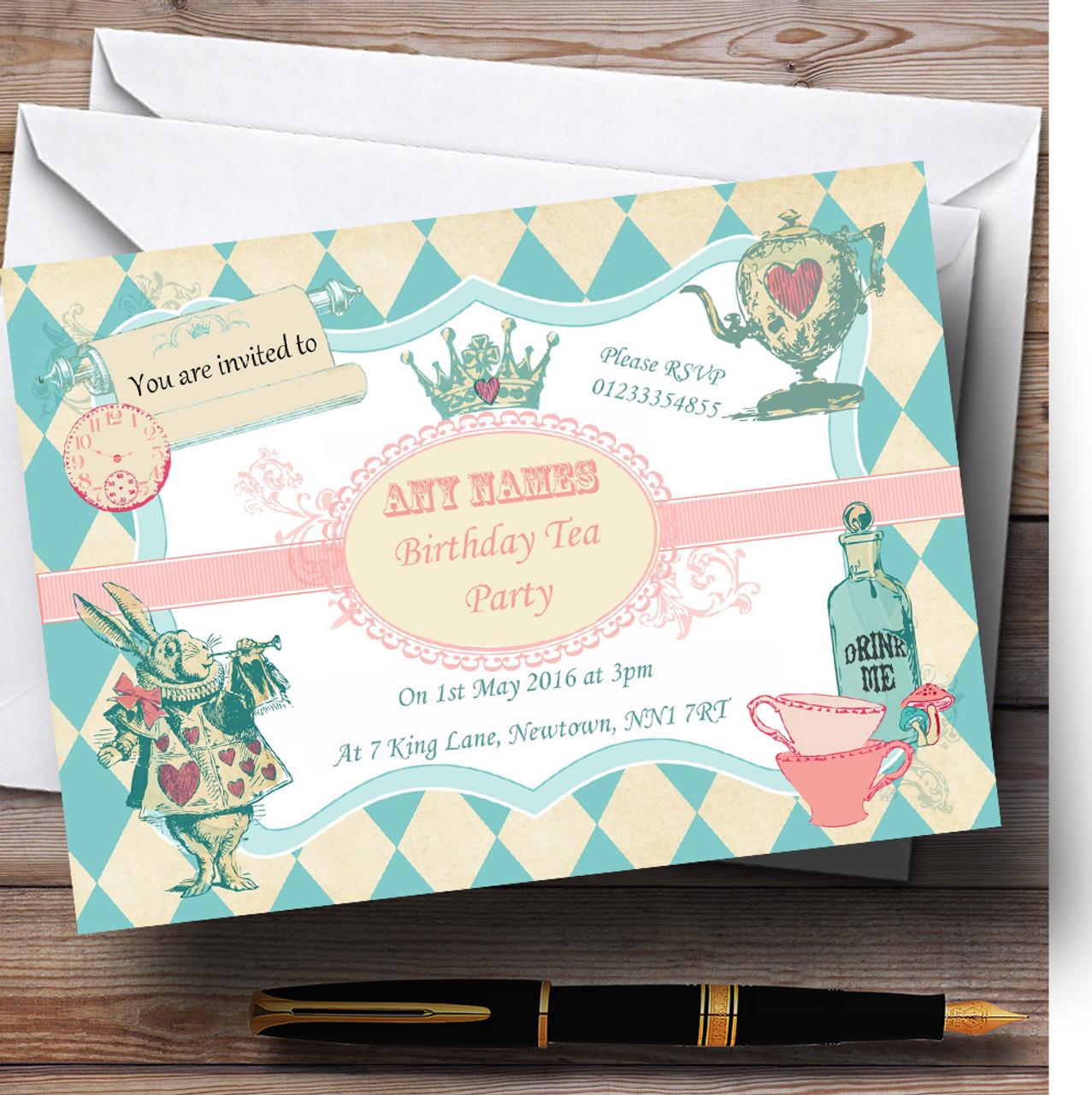 Alice in wonderland mad hatters tea personalised birthday childrens alice in wonderland mad hatters tea personalised birthday childrens party invitations filmwisefo