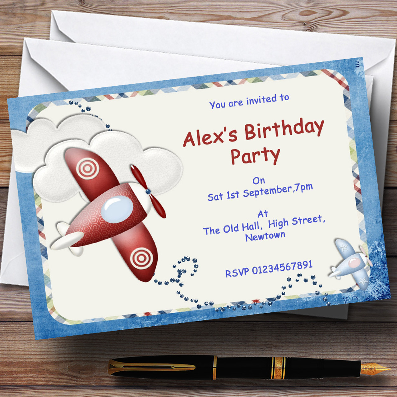 Aeroplane Blue Red Plane Theme Personalised Birthday Party ...