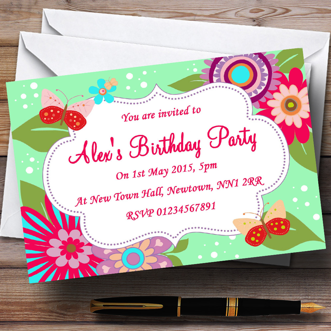 Flowers butterflies pretty personalised birthday party invitations flowers butterflies pretty personalised birthday party invitations stopboris Choice Image