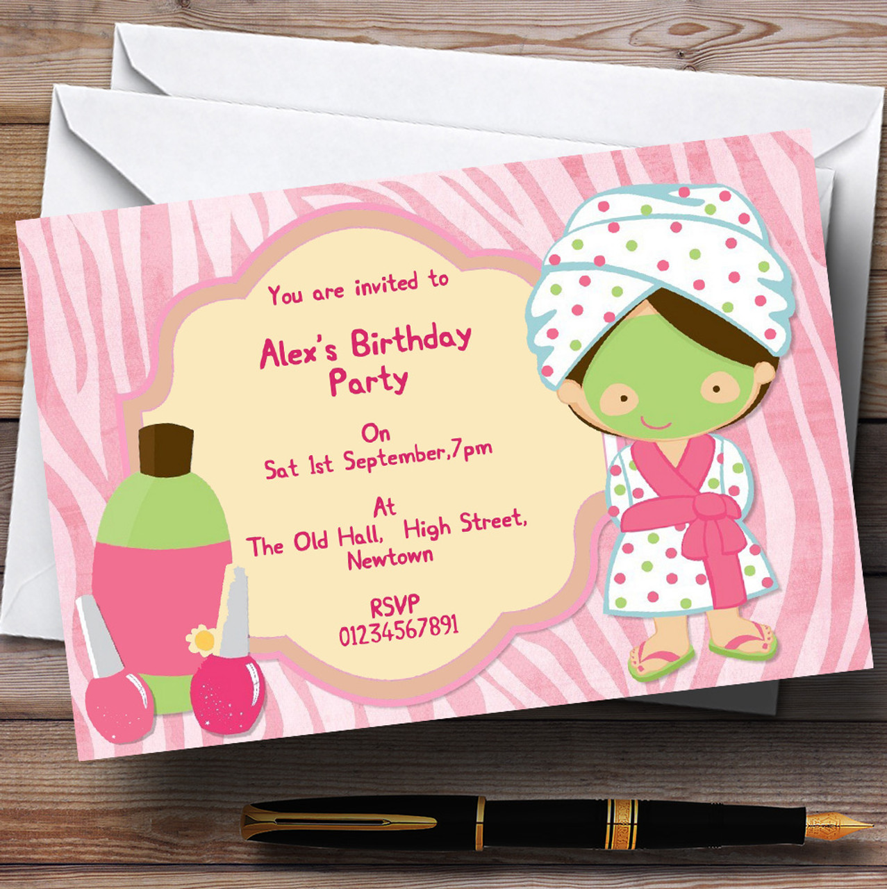 Girls Makeover Nail Spa Day Personalised Birthday Party Invitations ...