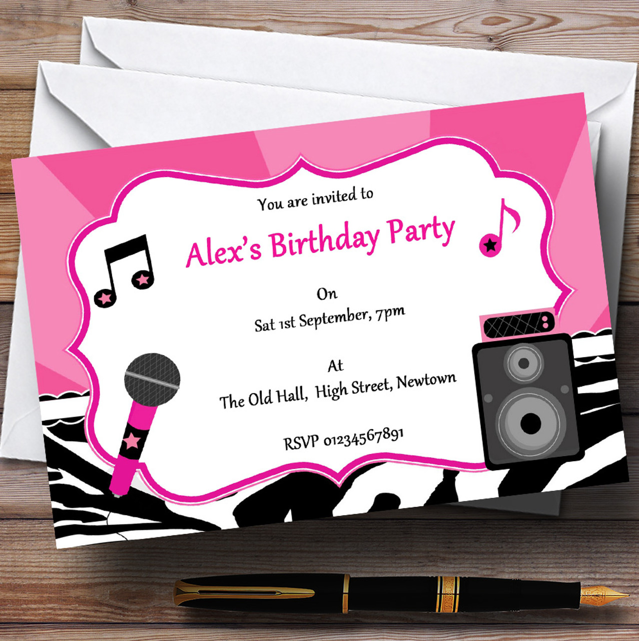 Karaoke Pop star Black And Pink Personalised Birthday Party ...