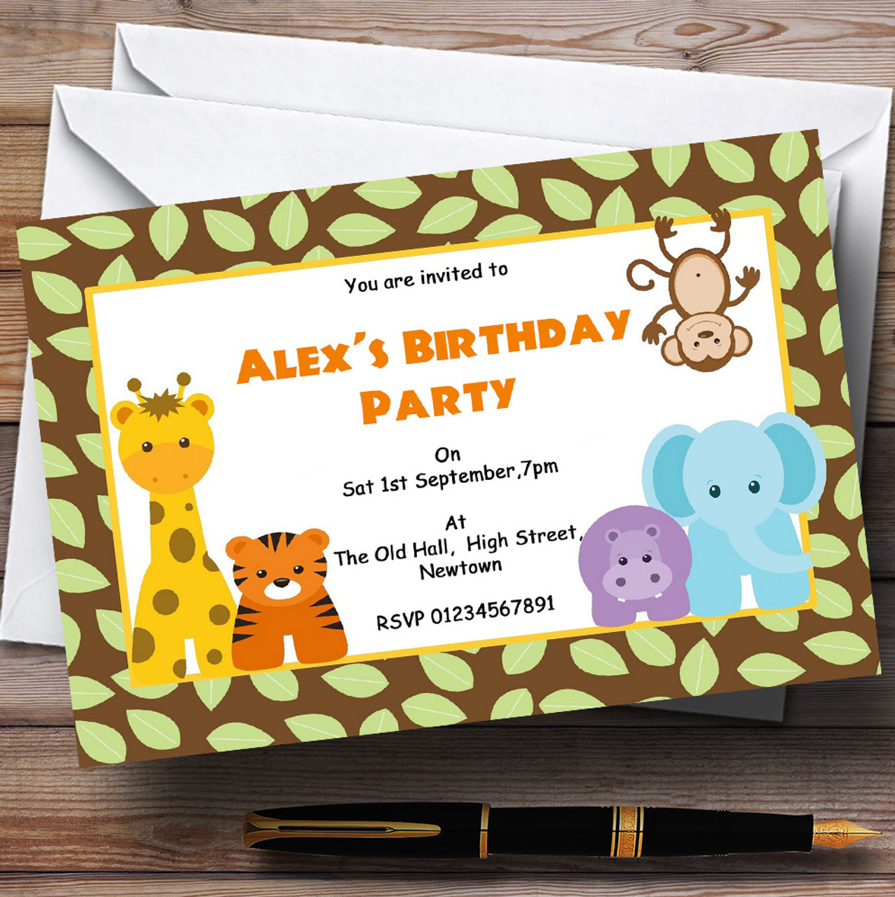 Animal Jungle Theme Personalised Birthday Party Invitations - The ...